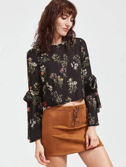 Black Floral Bow Tie Key-hole Back Blouse