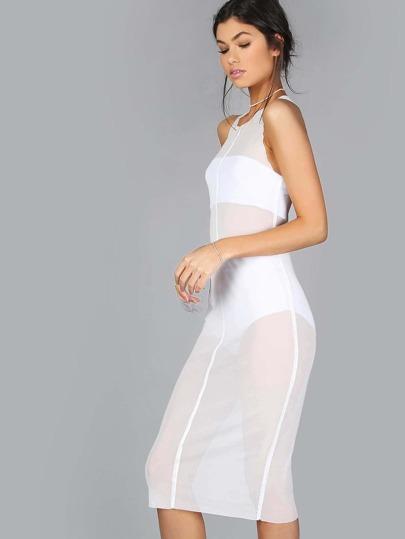 High Neck Mesh Midi Dress WHITE