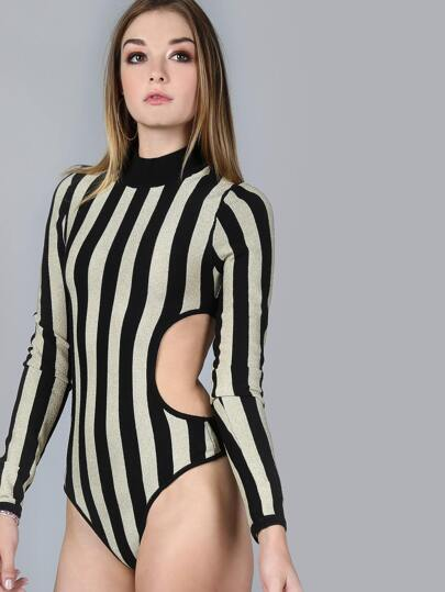 Backless Striped Lurex Sleeved Bodysuit BLACK