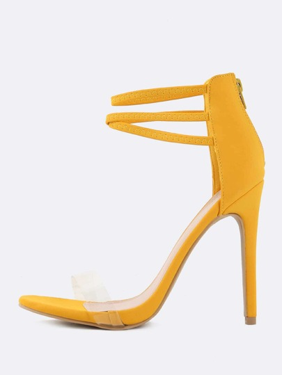 Triple Strap Stiletto Heels YELLOW