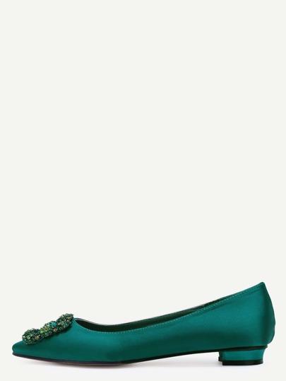 Green Glitter Satin Rhinestone Pointed Ballet Flats