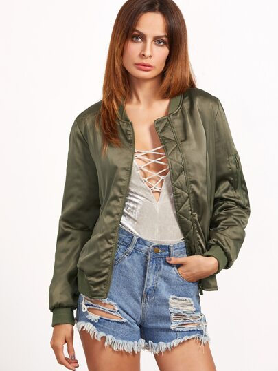 Olive Green Ribbed Trim Shirred Bomber Jacket