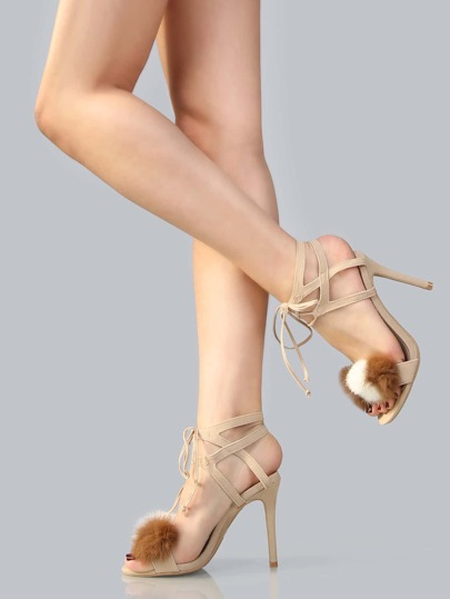 Tri Pom Pom Lace Up Stilettos NUDE