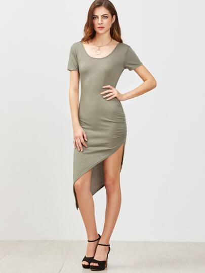 Army Green Open Back Ruched Asymmetrical Dress