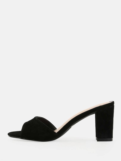 Open Toe Suede Block Heels BLACK