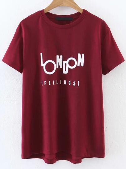 Camiseta casual con estampado de letras - rojo
