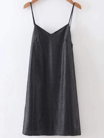 Black Open Back Cami Dress