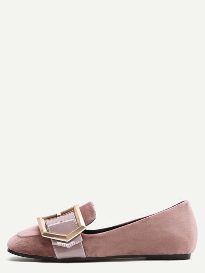 Rosa Samt-Quadrat-Zehe-Wölbungs-Loafer-Ebenen