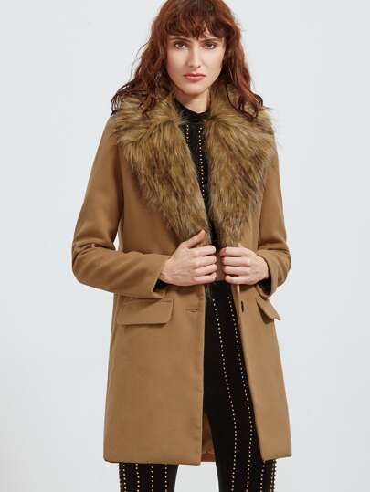 Camel Faux Fur Collar Single Breasted Coat