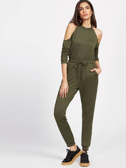 Open Shoulder Split Back Drawstring Waist Jumpsuit