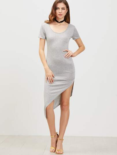 Grey Low Back Short Sleeve Asymmetrical Dress