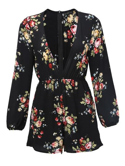 Чёрный модный комбинезон с цветочным принтом и V-образным вырезом