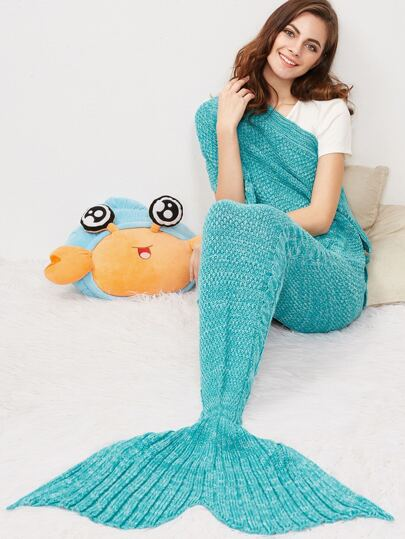 Green Marled Cable Knit Mermaid Tail Blanket