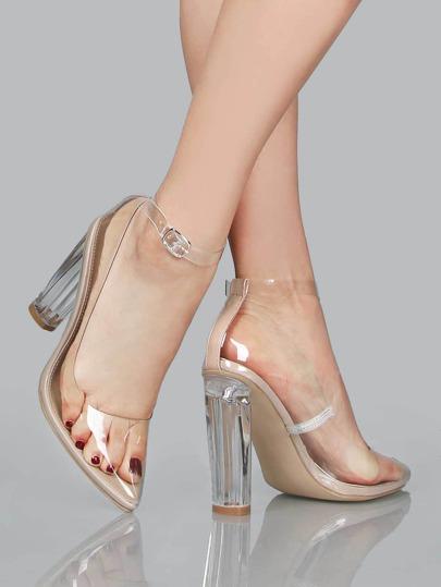 Perspex Heel Clear Pumps NUDE