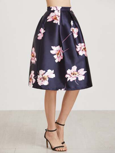 Flower Print Box Pleated Volume Skirt