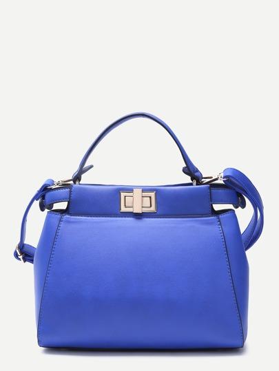 Blue PU Twistlock Closure Handbag With Strap