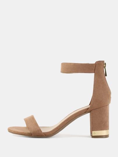 Open Toe Metallic Chunky Heels CAMEL