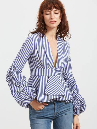 Gathered Sleeve Box Pleated Striped Plunging Peplum Top
