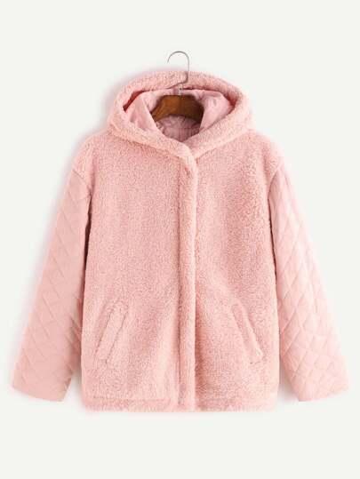 Pink Quilted Sleeve Hidden Zip Hooded Fleece Jacket