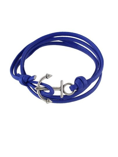 Blue Color Pu Leather Anchor Chain Bracelets