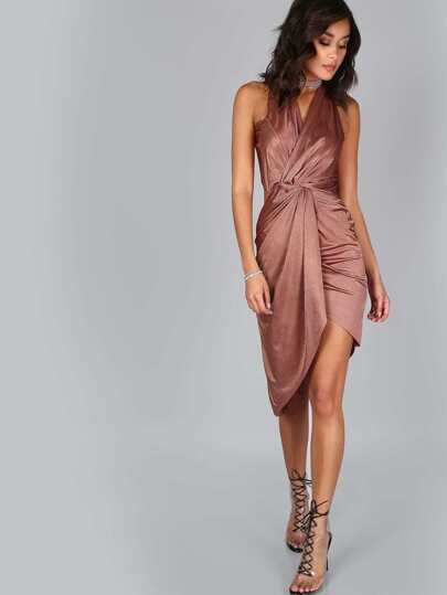 Twisted Knot Asymmetrical Dress COPPER