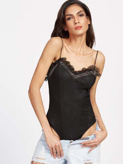 Lace Overlay Sheer Back Cami Bodysuit