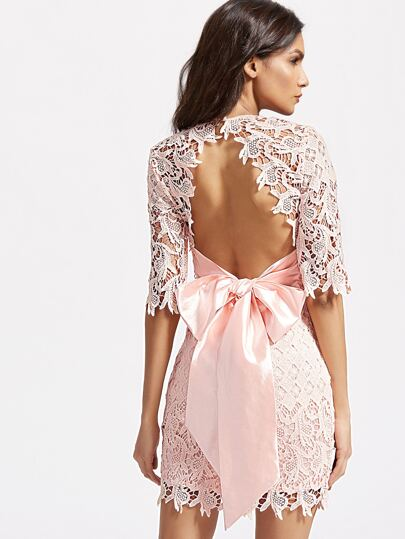 Bow Tie Open Back Embroidered Lace Overlay Dress