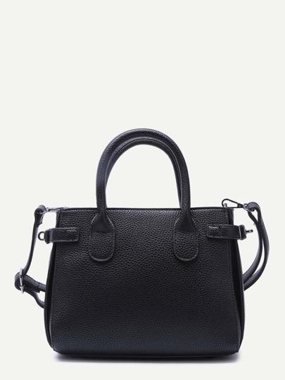 Black PU Zipper Closure Handbag With Strap