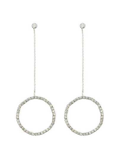 Silver Color Elegant Rhinestone Circle Shape Pendant Earrings