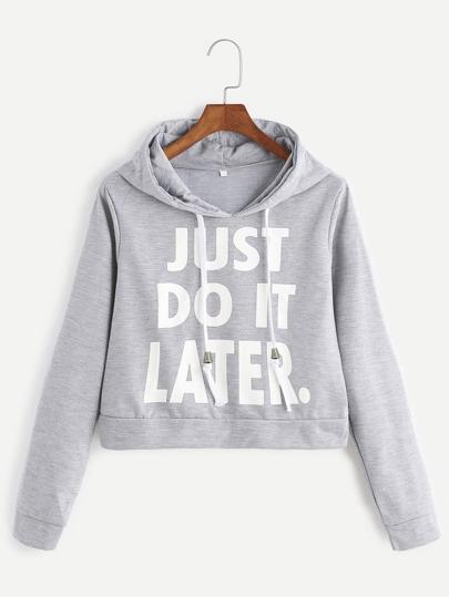 Kurze Sweatshirt mit Kapuzen Slogan Druck-hell grau