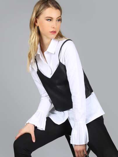 2 in 1 Button Down Leather Top OFF WHITE