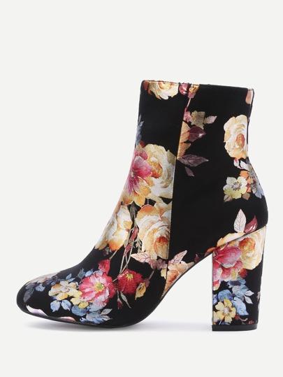 l'orteil noir bottes en daim point fleur pour