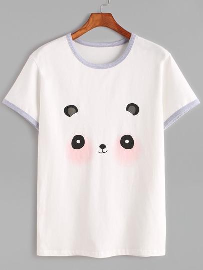 Weiß Panda-Druck-Wecker-T-Shirt