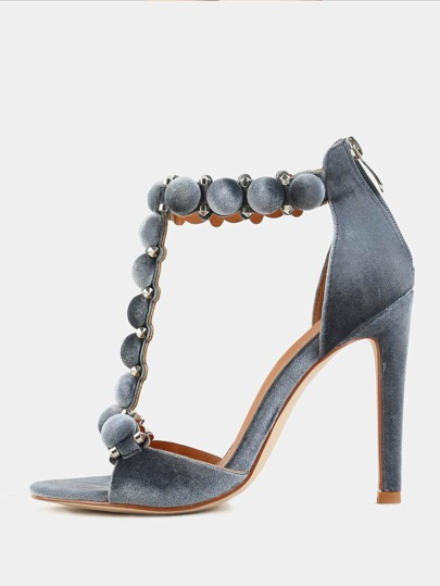 Smooth Velvet Pom Pom Heels GRAY