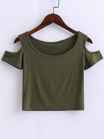Armee-grüne geöffnete Schulter-Ernte-Oberseite