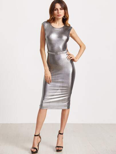 Metallic Silver Belted Cutout Back Pencil Dress