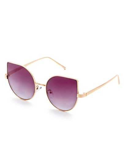 Gold Frame Purple Cat Eye Sunglasses