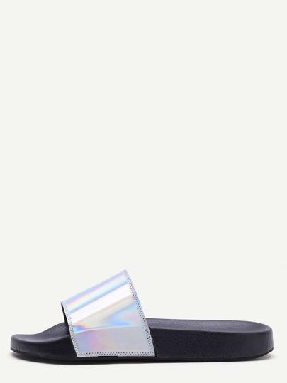 Silver PU Slider Flat Sandals