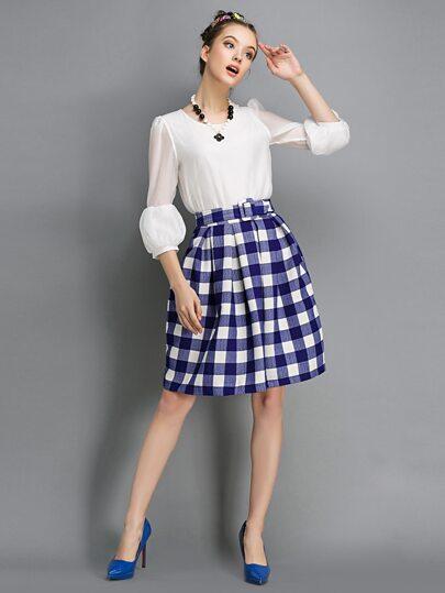 Blue And White Plaid Self Tie Skirt