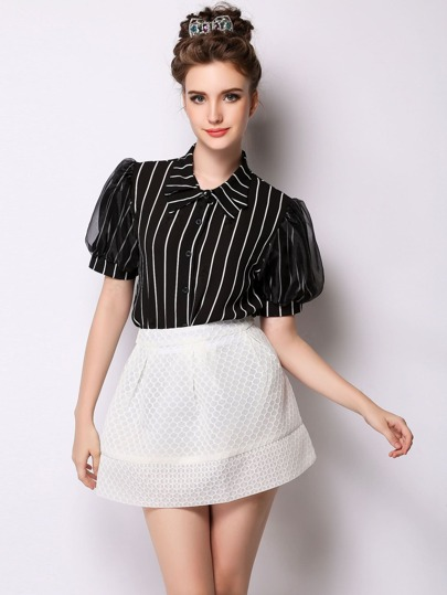 Black Vertical Striped Single Breasted Blouse