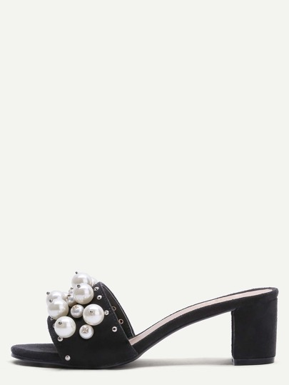 Black Open Toe Pearl Embellished Slippers