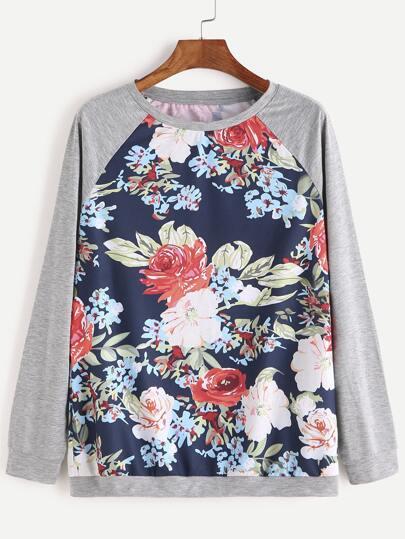 Multicolor Floral Print Raglan Sleeve Sweatshirt