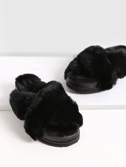 Black Rabbit Hair Fur Lined Flatform Slippers