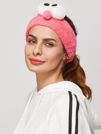 Hot Pink Big Eyes Cute Fuzzy Headband