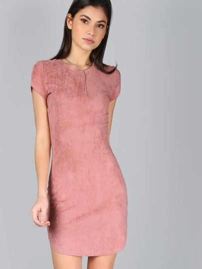 Curved Hem Form Fitting Suede Dress