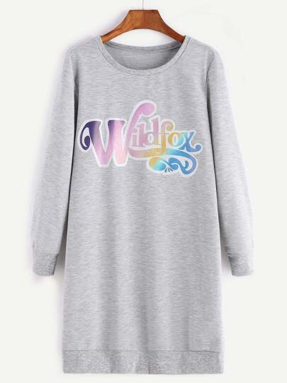 Heather Grey Letter Print Sweatshirt Dress