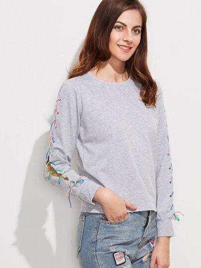T-Shirt Maniche Con Lacci - Grigio