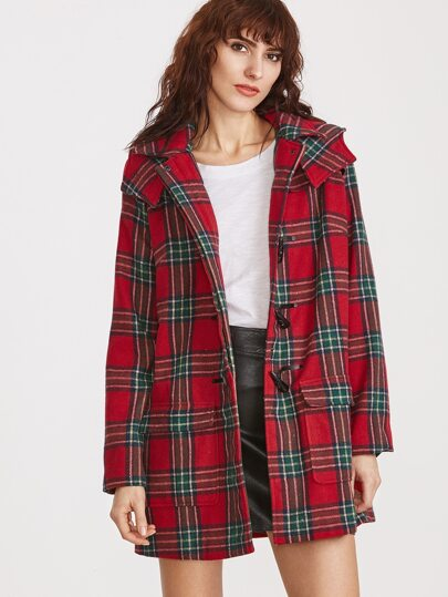 Red Plaid Flap Pocket Front Hooded Duffle Coat