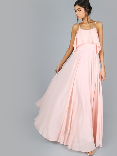 Frill Flow Maxi Dress BLUSH