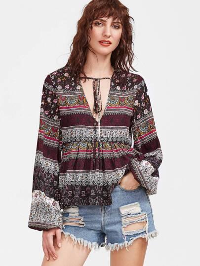 Multicolore imprimé vintage blouse à cou